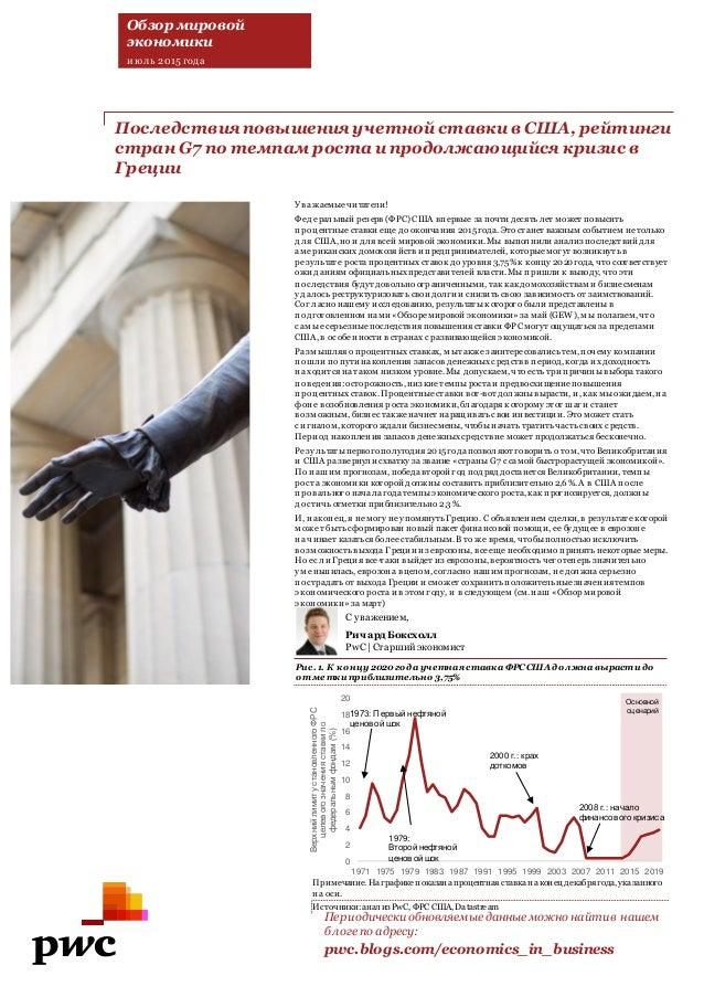 Последствияповышенияучетнойставкив США, рейтинги странG7 по темпам роста ипродолжающийся кризис в Греции Периодически обно...