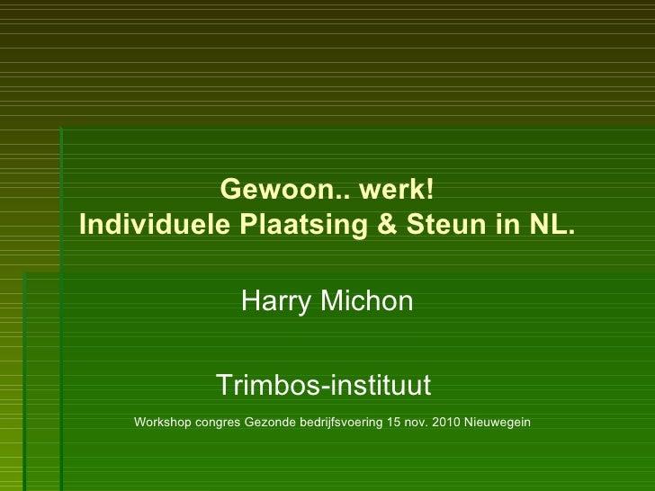 Gewoon.. werk! Individuele Plaatsing & Steun in NL. Harry Michon Trimbos-instituut  Workshop congres Gezonde bedrijfsvoeri...