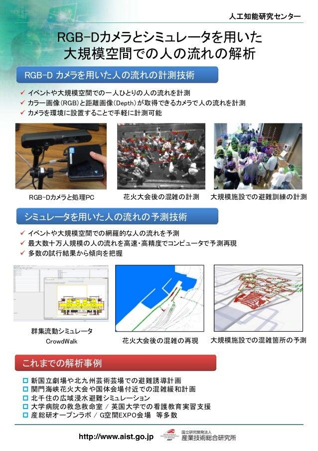 人工知能研究センター RGB-Dカメラとシミュレータを用いた 大規模空間での人の流れの解析  イベントや大規模空間での一人ひとりの人の流れを計測  カラー画像(RGB)と距離画像(Depth)が取得できるカメラで人の流れを計測  カメラを...