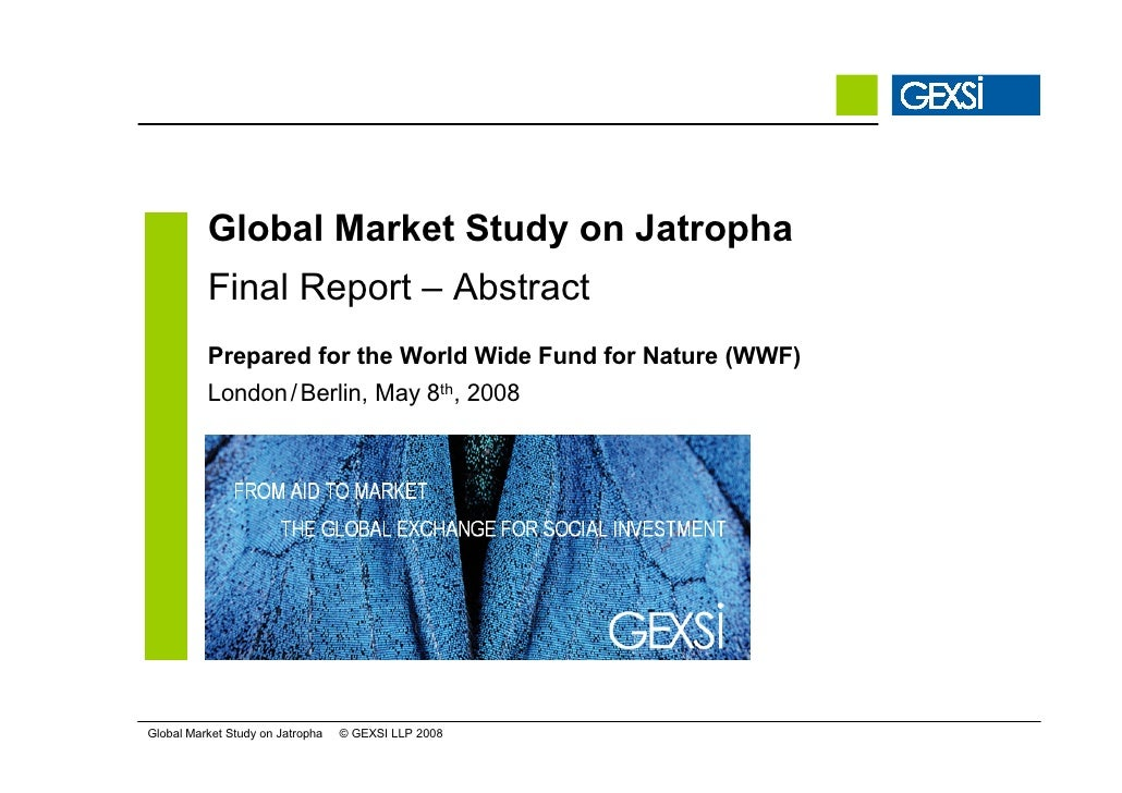 Global Market Study on Jatropha           Final Report – Abstract           Prepared for the World Wide Fund for Nature (W...