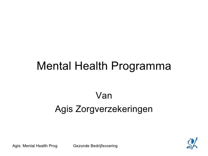 Mental Health Programma Van Agis Zorgverzekeringen