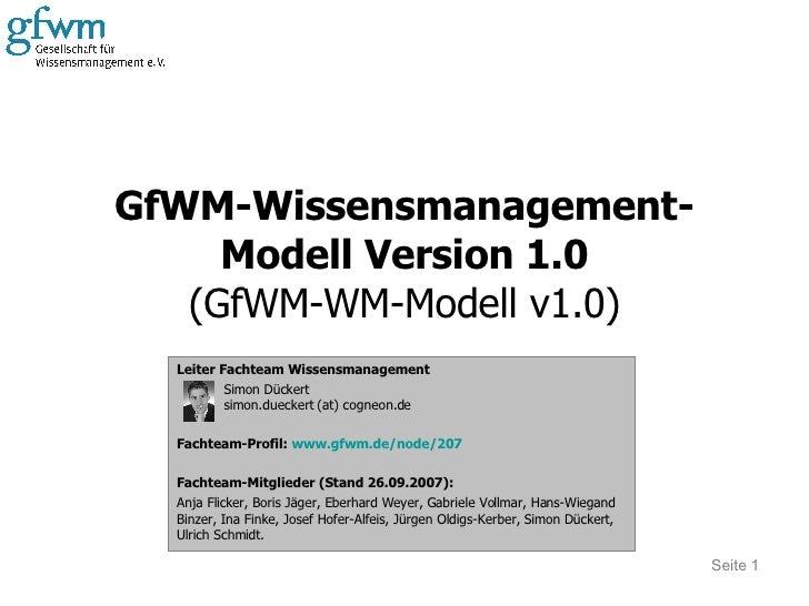 GfWM-Wissensmanagement-Modell Version 1.0 (GfWM-WM-Modell v1.0) Leiter Fachteam Wissensmanagement Simon Dückert simon.duec...