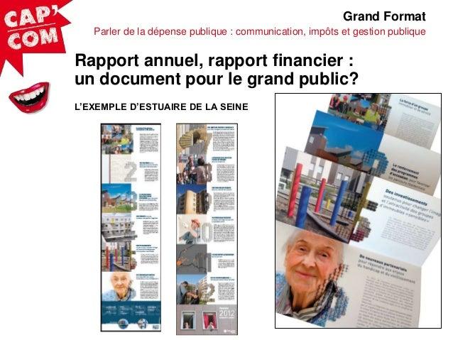 Grand Format Parler de la dépense publique : communication, impôts et gestion publique  Rapport annuel, rapport financier ...