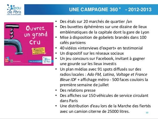 UNE CAMPAGNE 360 ° - 2012-2013 • Des étals sur 20 marchés de quartier /an • Des buvettes éphémères sur une dizaine de lieu...