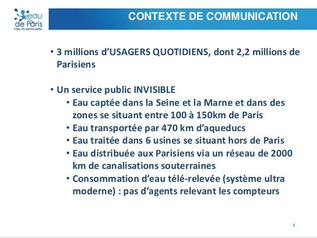 CONTEXTE DE COMMUNICATION • 3 millions d'USAGERS QUOTIDIENS, dont 2,2 millions de Parisiens • Un service public INVISIBLE ...