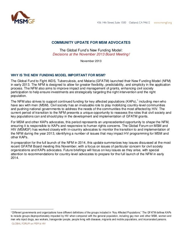 COMMUNITY UPDATE FOR MSM ADVOCATES The Global Fund's New Funding Model: Decisions at the November 2013 Board Meeting! Nove...
