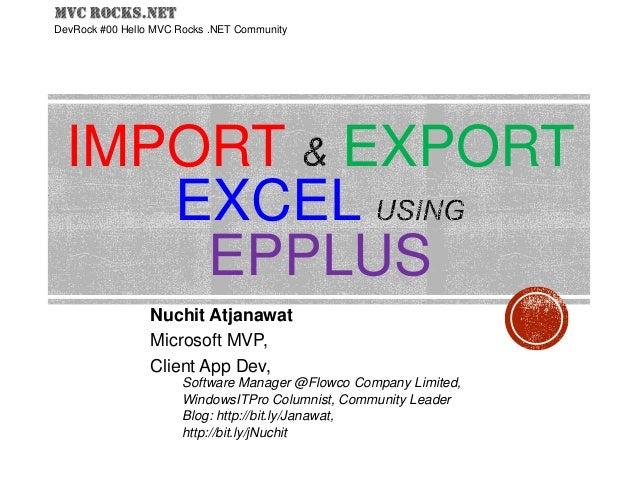 Import Export excel using EPPlus