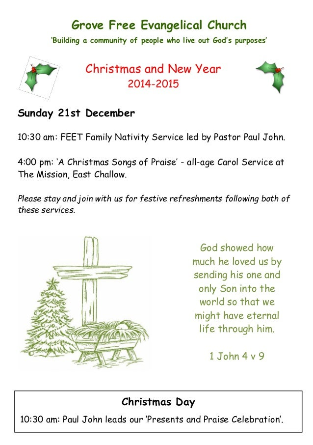 GFEC Newsletter: Christmas and New Year 2014-2015