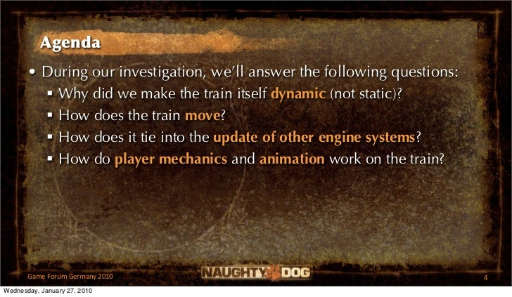 Agenda       • During our investigation, we'll answer the following questions:          Why did we make the train itself ...