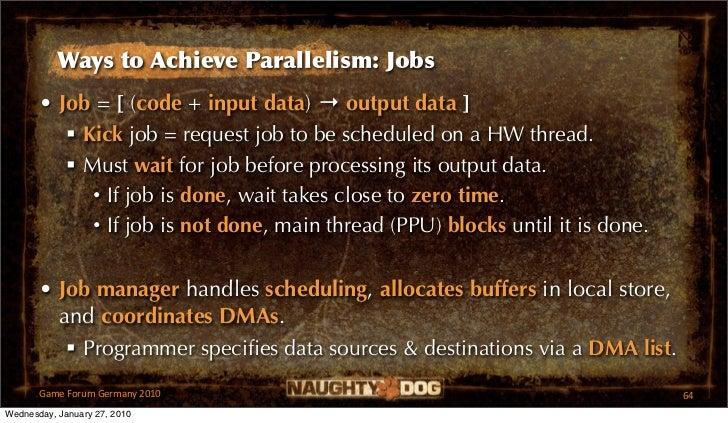 Ways to Achieve Parallelism: Jobs       • Job = [ (code + input data) → output data ]           Kick job = request job to...