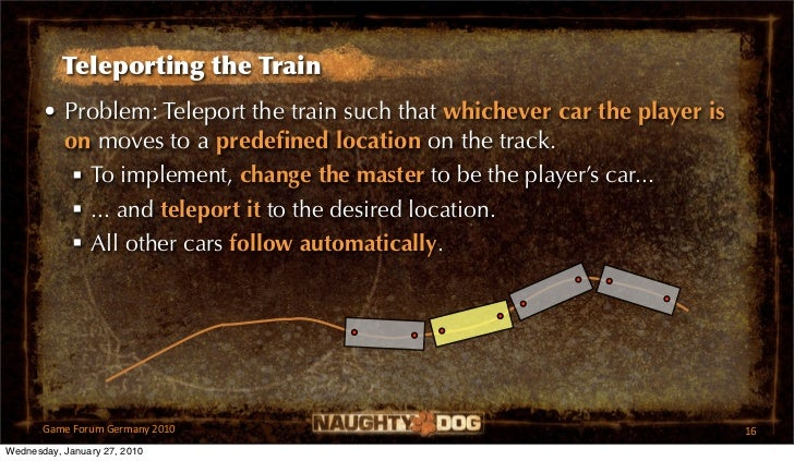 Teleporting the Train       • Problem: Teleport the train such that whichever car the player is         on moves to a pred...