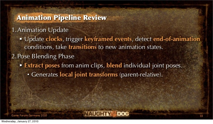 Animation Pipeline Review       1.Animation Update           Update clocks, trigger keyframed events, detect end-of-anima...