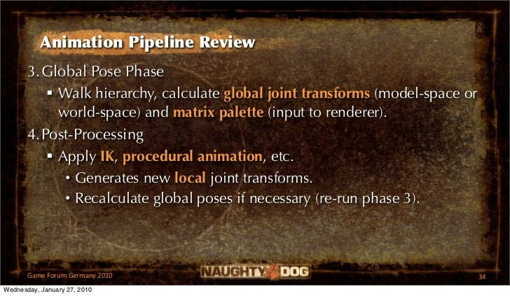 Animation Pipeline Review       3.Global Pose Phase           Walk hierarchy, calculate global joint transforms (model-sp...
