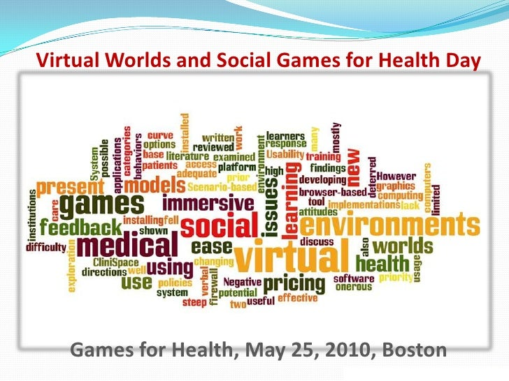 Virtual Worlds and Social Games for Health Day<br />Games for Health, May 25, 2010, Boston<br />Word Cloud design, courtes...