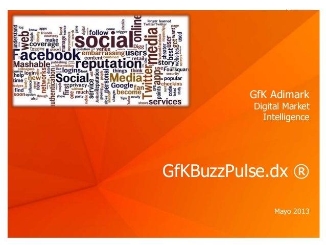 © GfK Adimark 2013 | GfKBuzzPulse.dx ® | Mayo 2013 1GfKBuzzPulse.dx ®Mayo 2013GfK AdimarkDigital MarketIntelligence