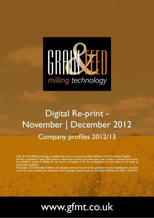 Digital Re-print -      November   December 2012                      Company profiles 2012/13Grain & Feed Milling Technol...