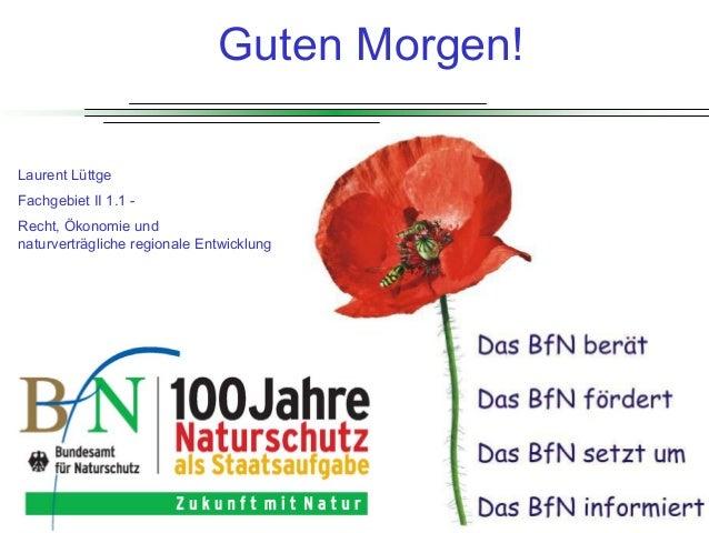 LuettgeL@bfn.de  Guten Morgen! Laurent Lüttge Fachgebiet II 1.1 Recht, Ökonomie und naturverträgliche regionale Entwicklun...