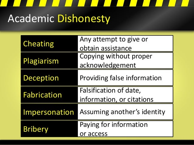 Academic Dishonesty Cheating Plagiarism Deception Fabrication Impersonation Bribery Any attempt to give or obtain assistan...