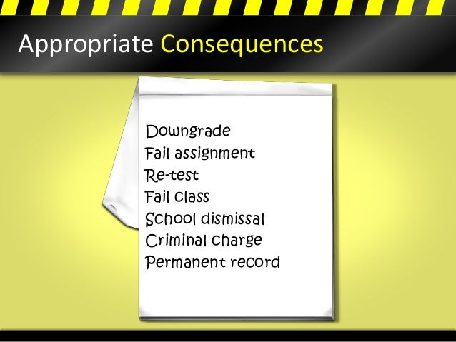 Appropriate Consequences Downgrade Fail assignment Re-test Fail class School dismissal Criminal charge Permanent record