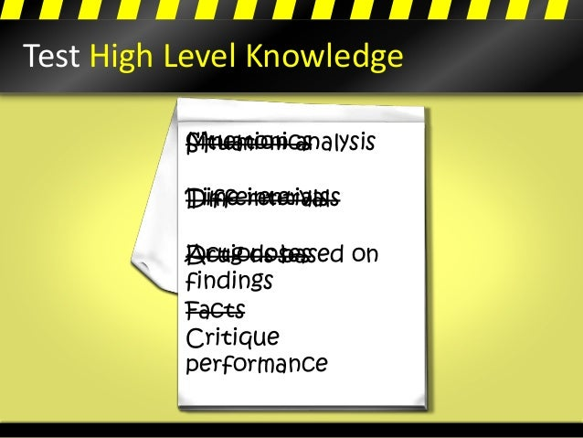 Test High Level Knowledge Situation analysis Differentials Actions based on findings Critique performance Mnemonics Time i...