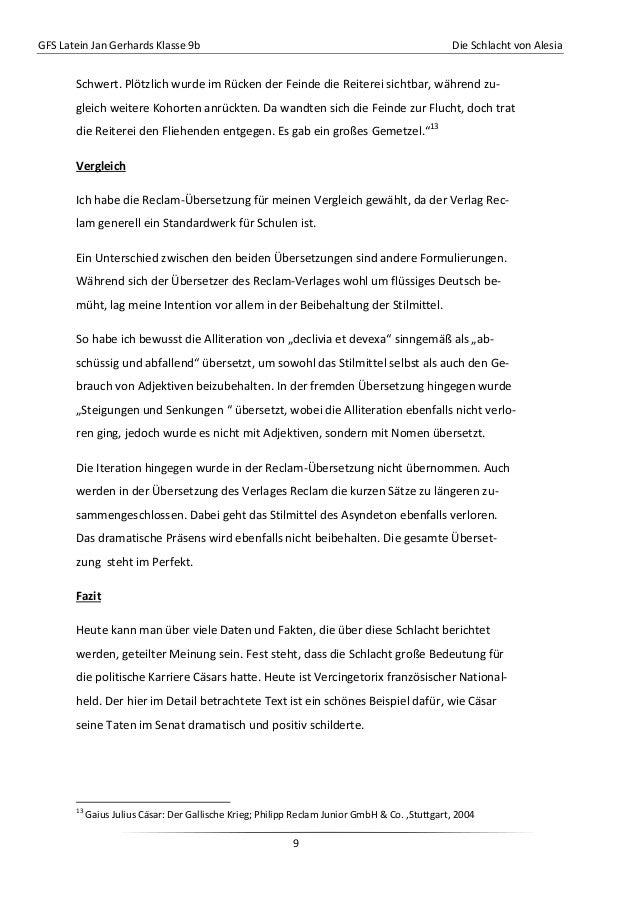 GFS Latein Jan Gerhards Klasse 9b Die Schlacht von Alesia9Schwert. Plötzlich wurde im Rücken der Feinde die Reiterei sicht...