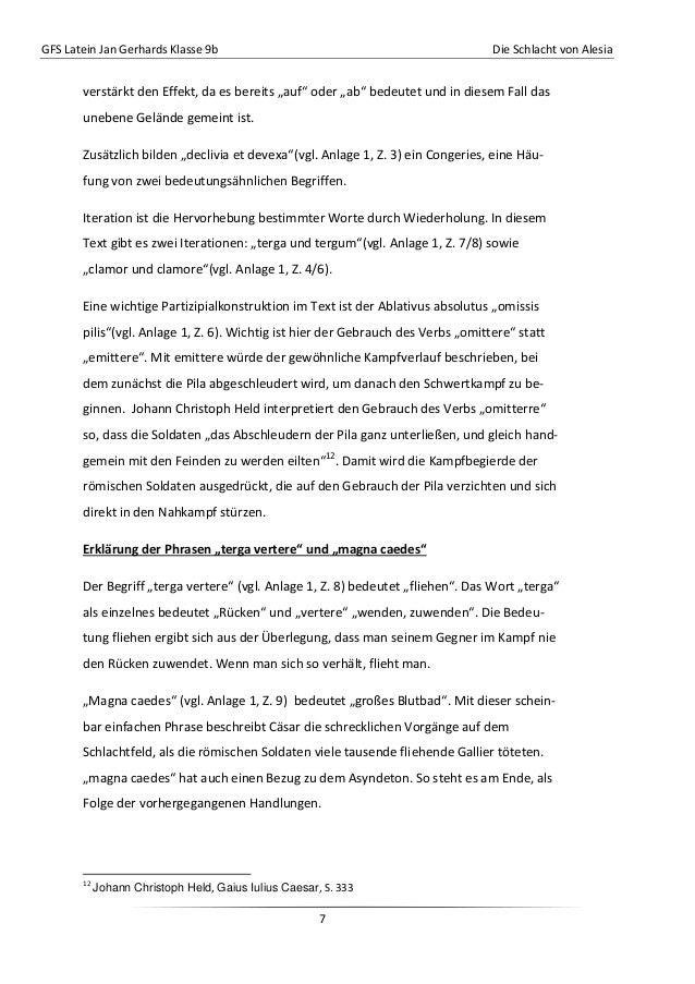 """GFS Latein Jan Gerhards Klasse 9b Die Schlacht von Alesia7verstärkt den Effekt, da es bereits """"auf"""" oder """"ab"""" bedeutet und..."""