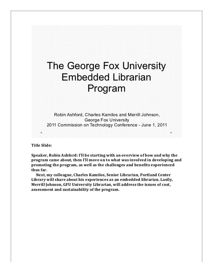 The George Fox University               Embedded Librarian                                                                ...