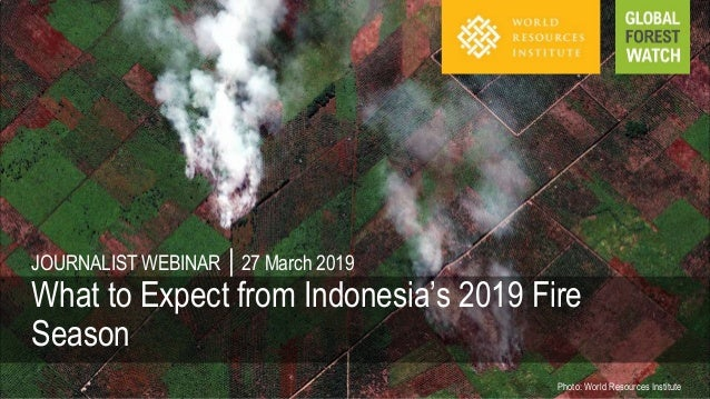 Photo: World Resources Institute JOURNALIST WEBINAR | 27 March 2019 What to Expect from Indonesia's 2019 Fire Season