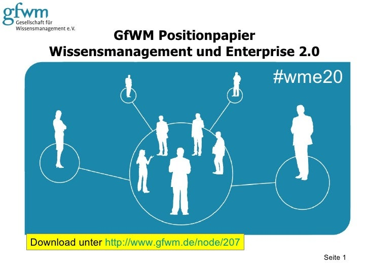 GfWM Positionpapier Wissensmanagement und Enterprise 2.0 Seite  Download unter  http://www.gfwm.de/node/207 #wme20