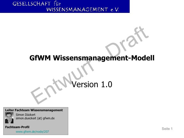 GfWM Wissensmanagement-Modell Version 1.0 Leiter Fachteam Wissensmanagement Simon Dückert simon.dueckert (at) gfwm.de Fach...