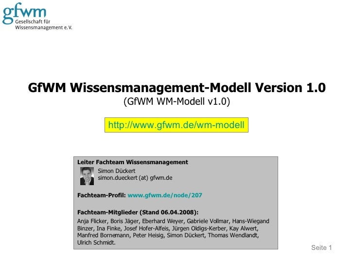 GfWM Wissensmanagement-Modell Version 1.0 (GfWM WM-Modell v1.0) Seite  Leiter Fachteam Wissensmanagement Simon Dückert sim...