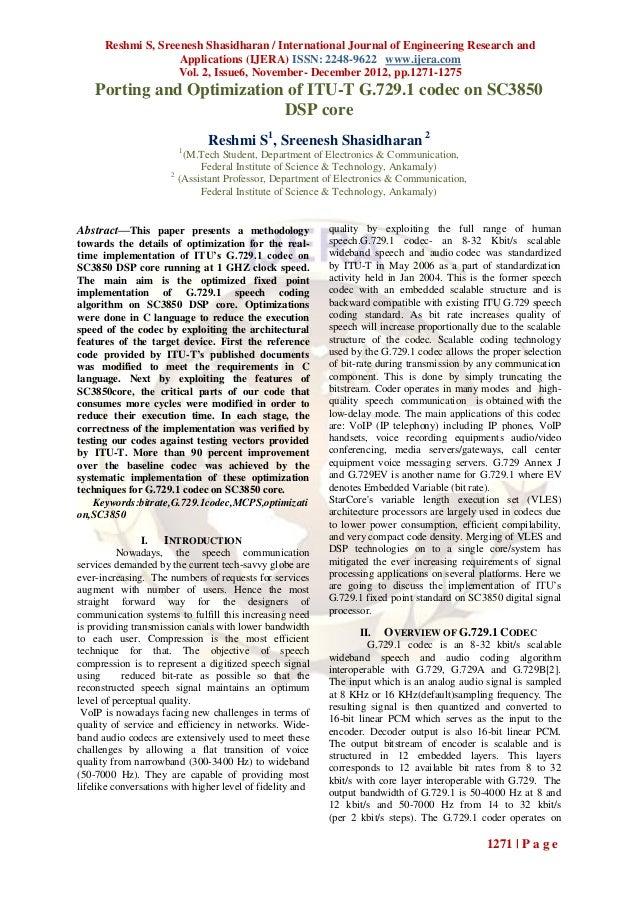 Reshmi S, Sreenesh Shasidharan / International Journal of Engineering Research and                    Applications (IJERA)...