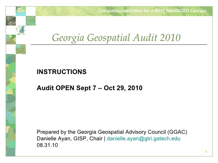 2010  GA Geospatial Audit Instructions