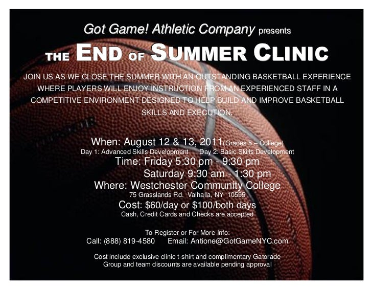 Got Game! Athletic Company prresentts                                           p esen s              END OF SUMMER CLINIC...