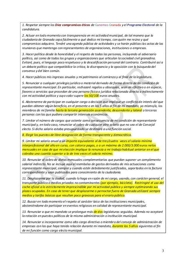 Ganemos Granada:  Borrador declaracion etica aprobado Slide 3