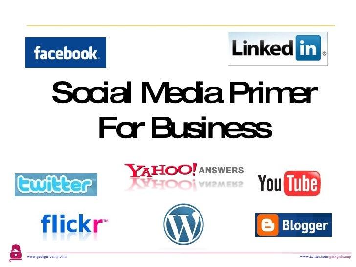 Social Media Primer For Business