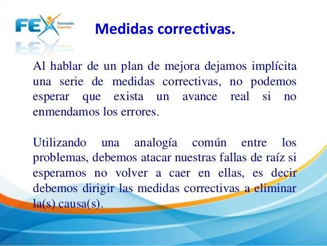 Medidas correctivas y plan de mejora for Cuales son las medidas de un colchon individual