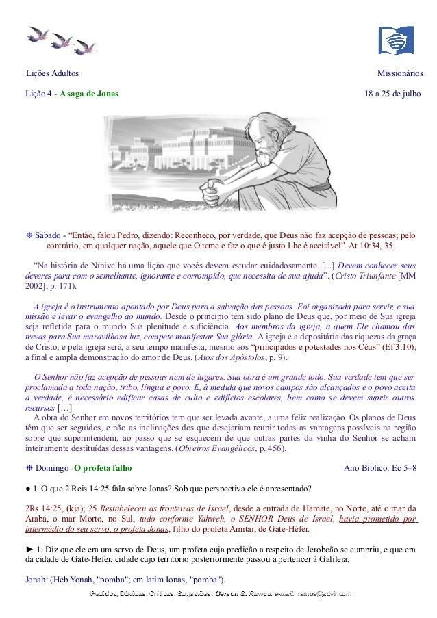 """Lições Adultos Missionários Lição 4 - A saga de Jonas 18 a 25 de julho ❉ Sábado - """"Então, falou Pedro, dizendo: Reconheço,..."""