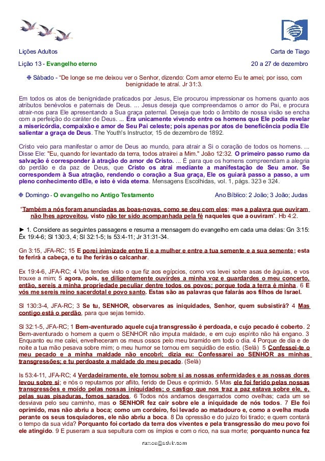 """Lições Adultos Carta de Tiago Lição 13 - Evangelho eterno 20 a 27 de dezembro ❉ Sábado - """"De longe se me deixou ver o Senh..."""