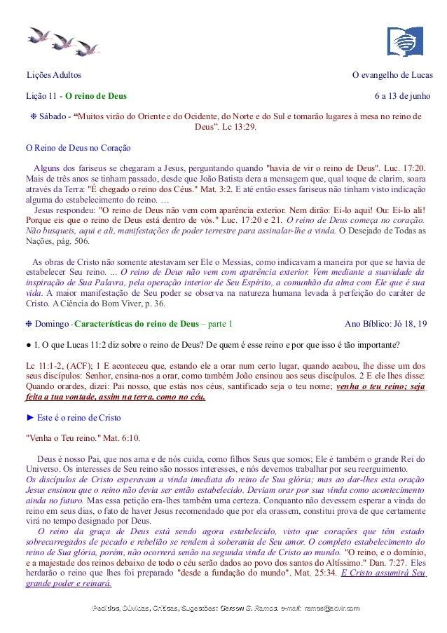 """Lições Adultos O evangelho de Lucas Lição 11 - O reino de Deus 6 a 13 de junho ❉ Sábado - """"Muitos virão do Oriente e do Oc..."""
