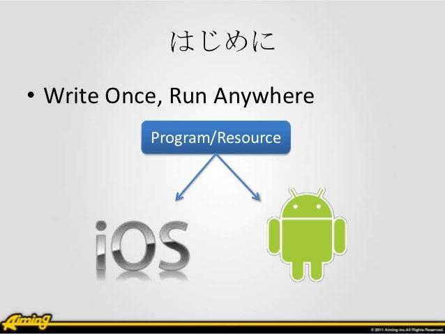 はじめに• Write Once, Run Anywhere           Program/Resource