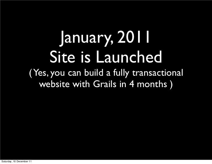 January, 2011                           Site is Launched                     ( Yes, you can build a fully transactional   ...