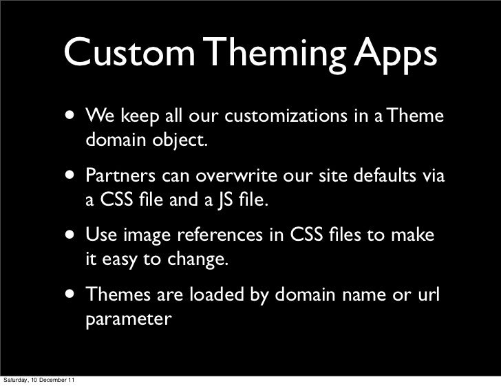 Custom Theming Apps                    • We keep all our customizations in a Theme                           domain object...