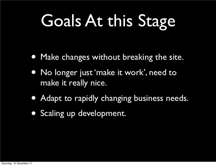 Goals At this Stage                      • Make changes without breaking the site.                      • No longer just '...
