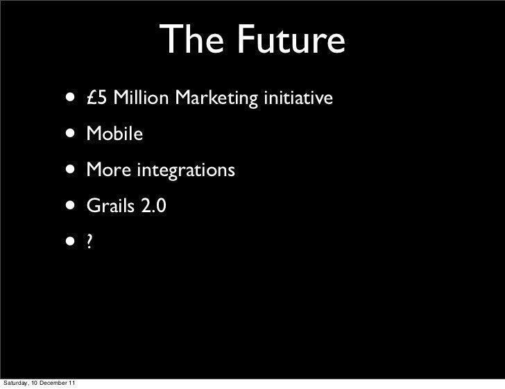 The Future                    • £5 Million Marketing initiative                    • Mobile                    • More inte...