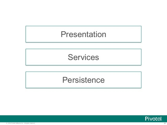 Presentation  Services  Persistence  © 2014 Pivotal Software, Inc. All rights reserved. ‹#›