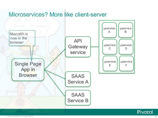 Microservices? More like client-server  μservice  A  Monolith is  now in the  browser  Single Page  App in  Browser  API  ...
