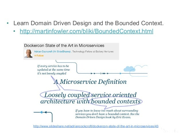 • Learn Domain Driven Design and the Bounded Context.  • http://martinfowler.com/bliki/BoundedContext.html  http://www.sli...