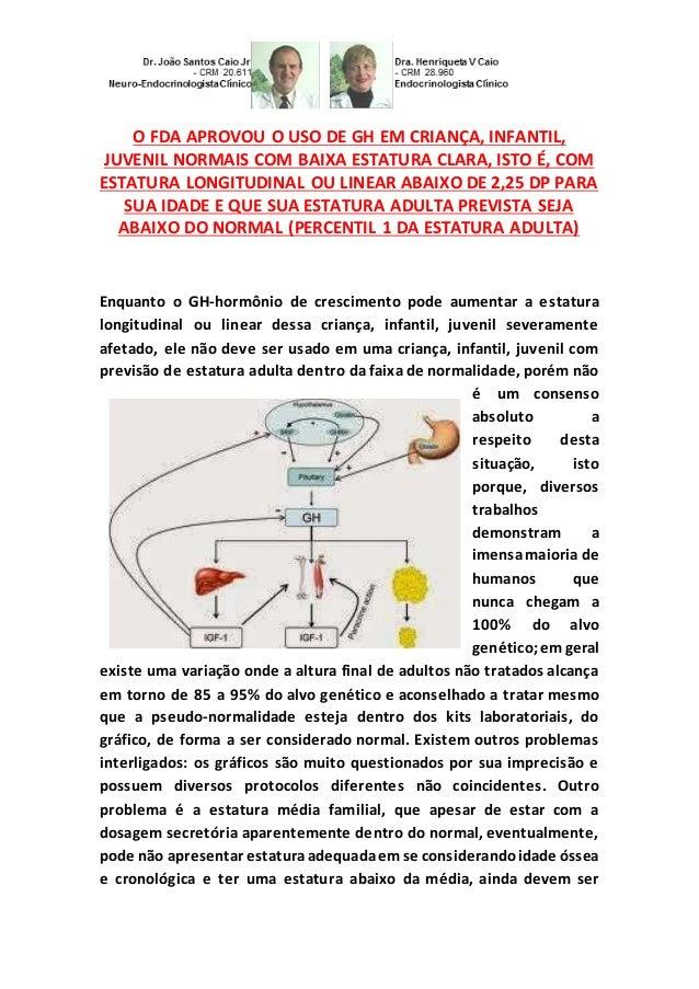O FDA APROVOU O USO DE GH EM CRIANÇA, INFANTIL, JUVENIL NORMAIS COM BAIXA ESTATURA CLARA, ISTO É, COM ESTATURA LONGITUDINA...