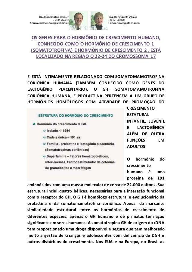 OS GENES PARA O HORMÔNIO DE CRESCIMENTO HUMANO, CONHECIDO COMO O HORMÔNIO DE CRESCIMENTO 1 (SOMATOTROFINA) E HORMÔNIO DE C...